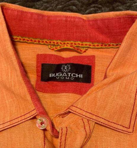 Bugatchi Men's XL linen orange shirt