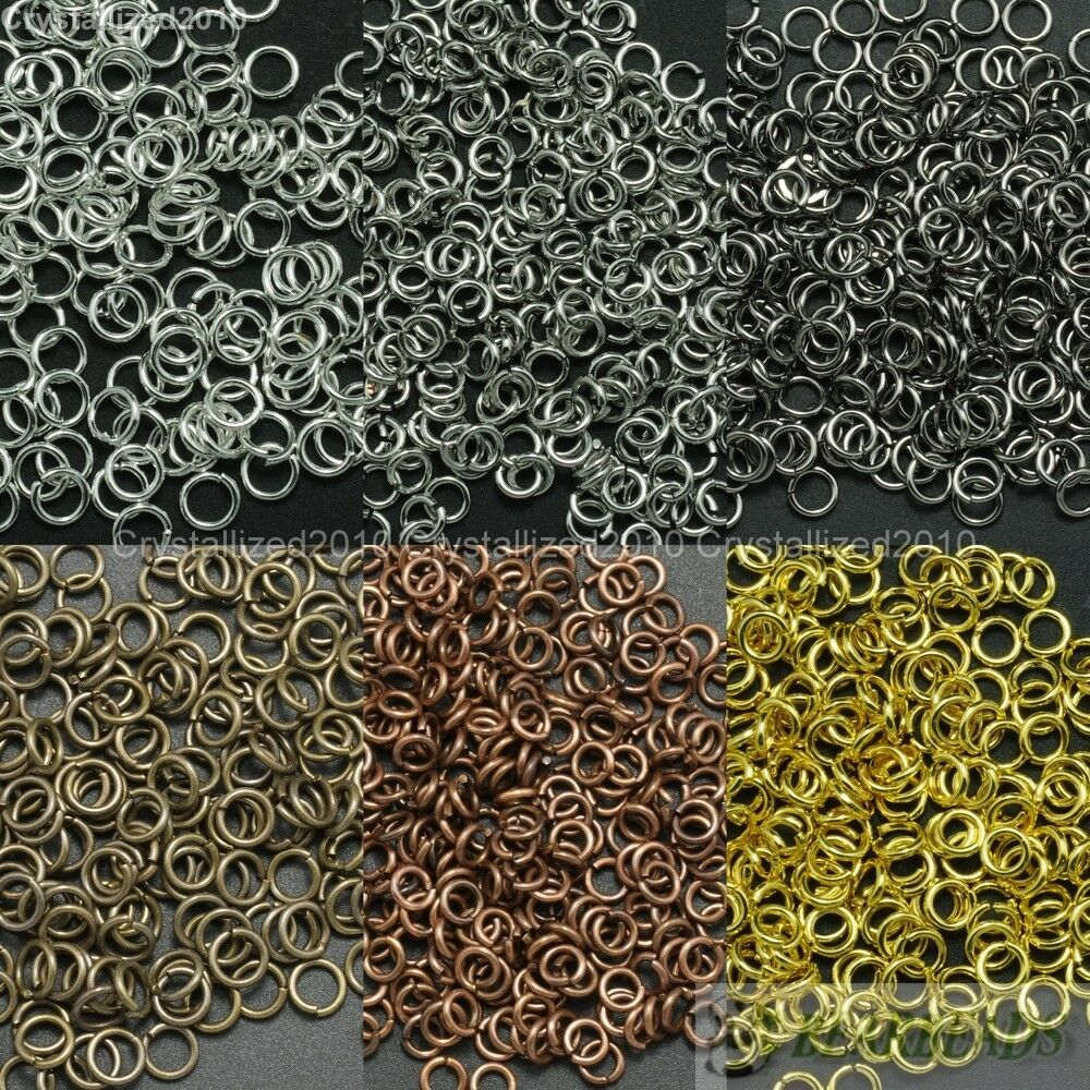 Silver Gold Pewter Plated Open Split Jump Rings Connectors Jewelry Findings