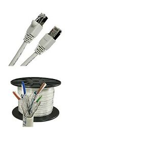 10/'ft cat6/'a STP Gray Network ethernet Cable shielded copper Patch Outdoor RJ45