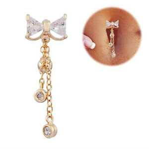 Delicate-Bowknot-Belly-Ring-Dangle-Clear-Navel-Bar-Gold-Body-Jewelry-Piercing-g