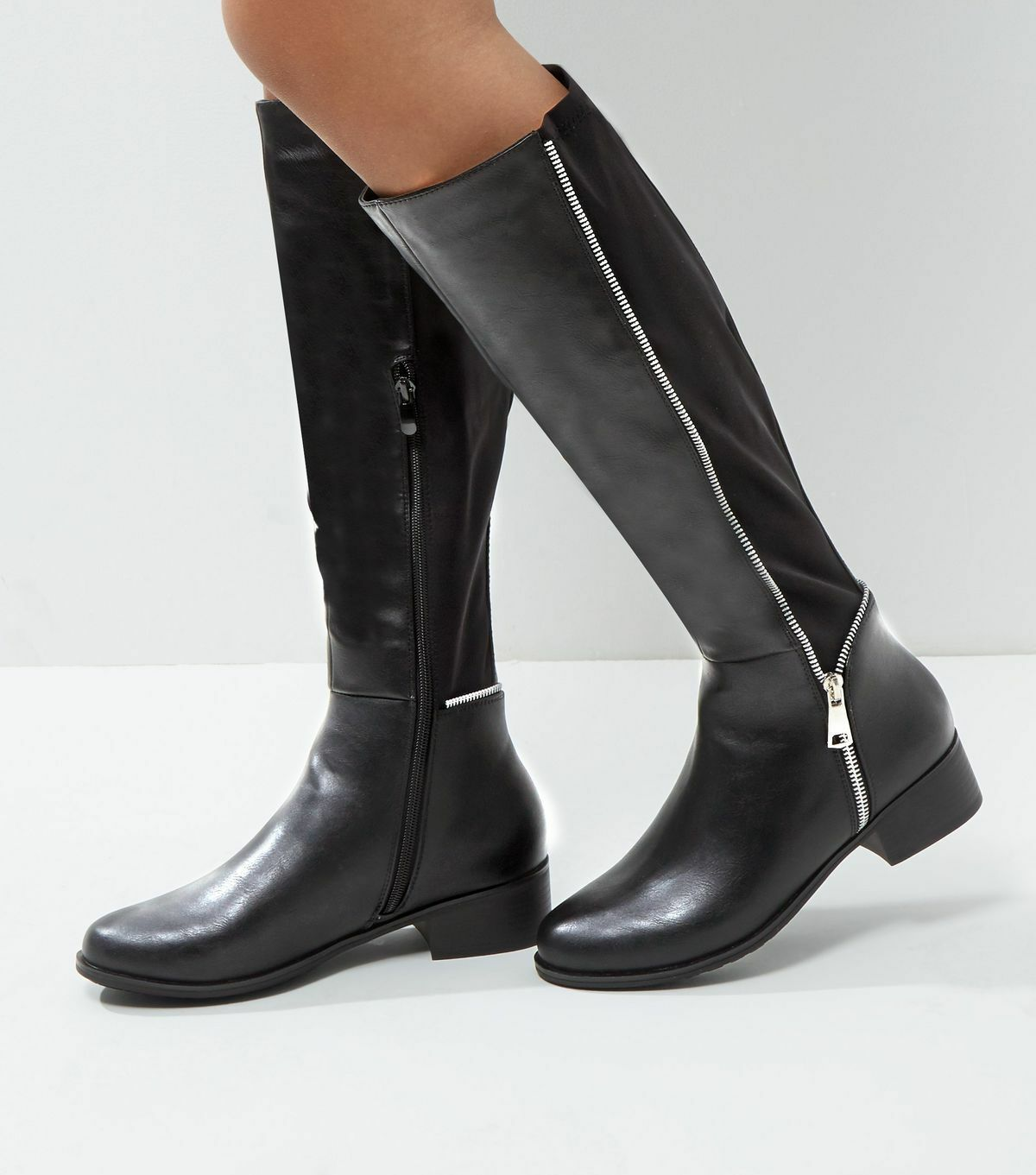Brand New New Look Black Zip Side Knee High Boots Size 5 Must Have