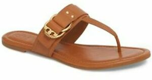 673ece0c7993 NIB 228 Tory Burch Marsden Flat Thong Sandals Tan Calf Leather Gold ...