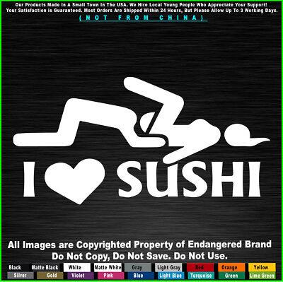 I Heart Sushi Car Window Vinyl Die-Cut Decal Sticker 02018 Funny Humor Love