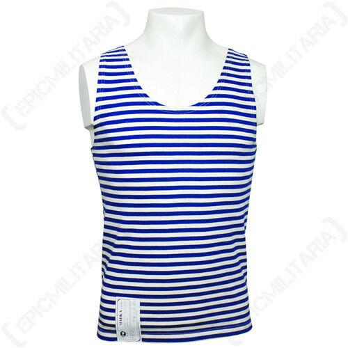 100/% Cotton Paratrooper Tank Top Russian Light Blue Striped Vest Telnyashka