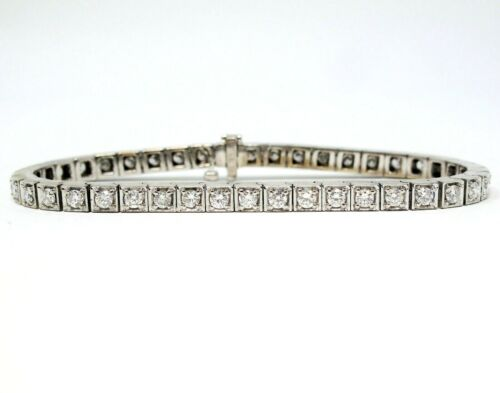 NEW 14k White Gold Finish 2.27ct Marquise Brilliant Tennis Bracelet 7.5 inches