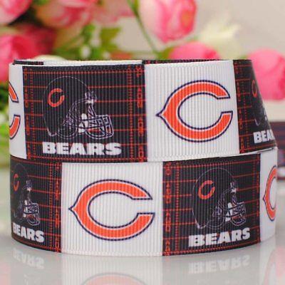 50 yards 22 mm Chicago bears sport team print grosgrain ribbon