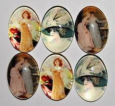6 of 25x18 mm Glass Victorian Art Deco Big Hat Women Cameos, Three Scenes