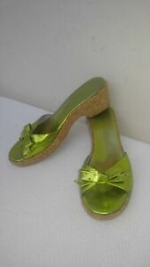 MARC-JACOBS-Made-in-Italy-Lime-Green-Leather-Cork-Platform-Women-039-s-Sandals-US-9