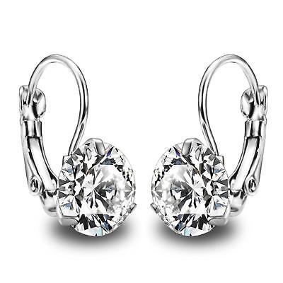 Ohrringe Ohrhänger Zirkonia Weiß 750er Weißgold 18 Karat Vergoldet Silber O3069