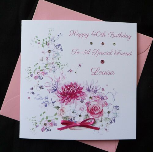 2515 PERSONALISED Handmade BIRTHDAY Card Flowers Floral 40th 50th 60th 80th