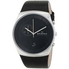 Skagen Men's Havene Chronograph Stainless Steel Watch, Leather Strap, SKW6070