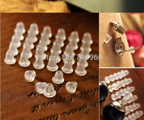 Pack of 20//40//60//80 Soft Rubber Earring Back Stopper Spare Stoppers Backing NEW
