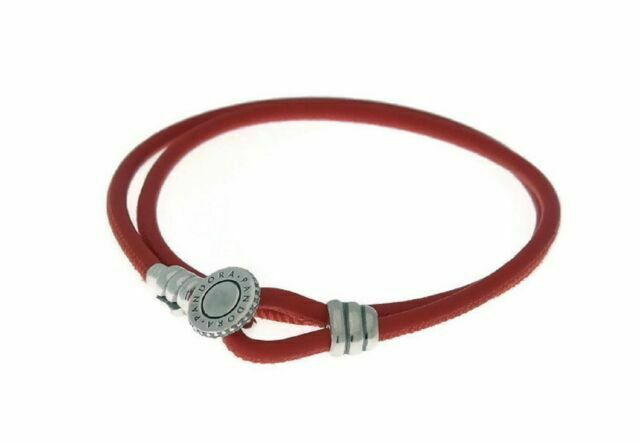 pandora silver cz spicy orange double leather bracelet