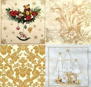 4x  Different Single Table Paper Napkins Craft for Decoupage Winter Mix U//38 ART