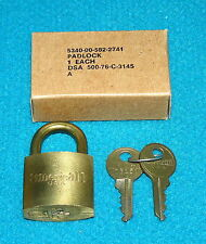 Vintage/New! G.I. brass PADLOCK from AMERICAN @ U.S. Military ARMY/MARINES