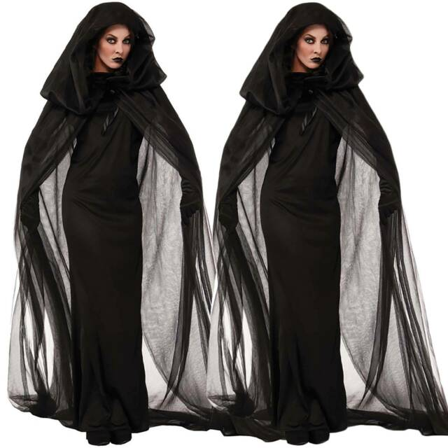 Men Women/'s Hooded Long Cape Cloak Tippet Coat Party Halloween Cosplay  SU