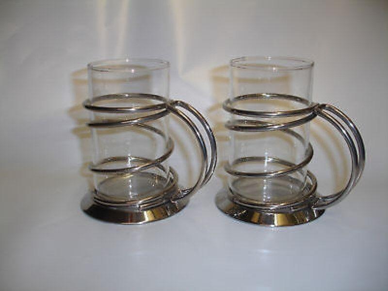 Giannini Set 2 2 2 Cups für Te-Kräuter-Tee Glas-Edelstahl   Hoch   e29891