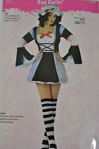 PALMERS-Rag-Darlin-Costume-Adulte-Halloween-Enterrement-Fete-Noir-Blanc