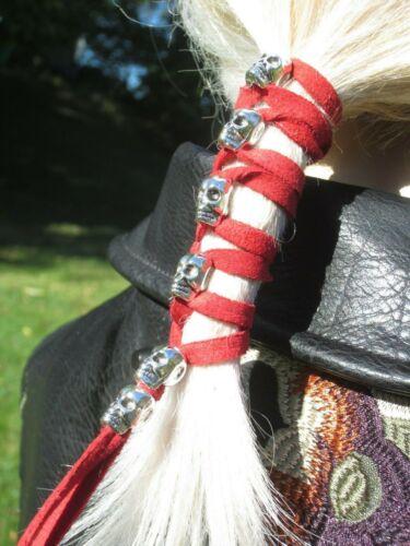 SKULL Leather Hair Wrap Ties Ponytail Holders Black Red Bead Biker Goth Clothing