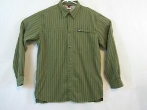 The-North-Face-men-039-s-button-front-shirt-size-large-green-stripe-roll-tab-sleeves