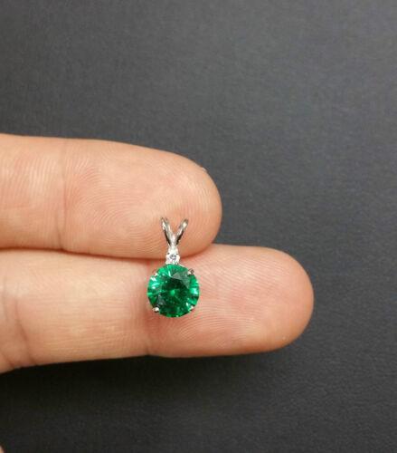 14k Weissgold Runde Grün Smaragd Weißer Saphir Anhänger