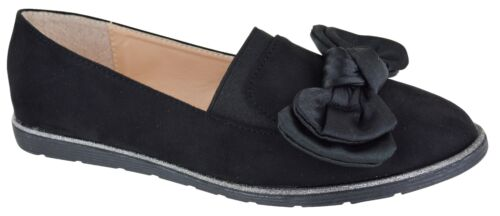 LADIES OFFICE CASUAL LOAFERS WOMENS LOW HEEL BOW STYLE COMFY EVERYDAY SHOES SIZE