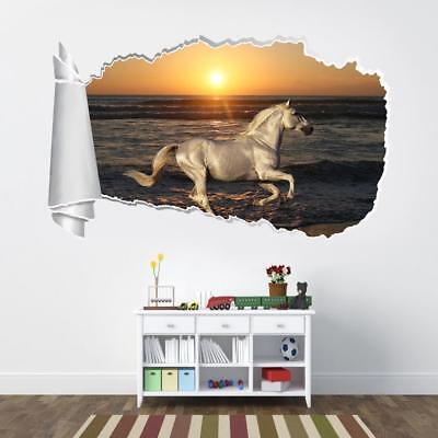 White Horse Beach Sunset 3D Torn Hole Ripped Wall Sticker Decal Art Mural WT488