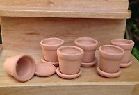 Miniature Dollhouse Fairy Garden Accessories Set / 6 Small Clay Pots W Saucers