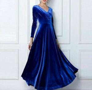 Women V-neck Long Sleeve Velvet Dress Full Length Party Gown Ball Blue US S New