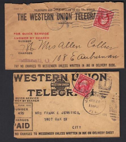Us 1915 Two Western Union Telegrams Franked 2c Wash Perfins Wu