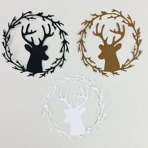 Christmas Wreath Silhouette.Details About 10 Christmas Winter Deer Wreath Silhouette Cardstock Die Cut Embellishment Cards