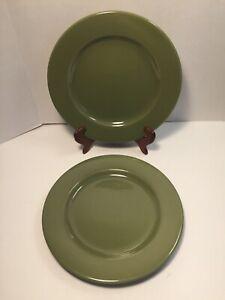 Lot-of-2-Pier-1-Bohemian-Green-Ironstone-Dinner-Plates-10-5-8-034-Made-in-Brazil
