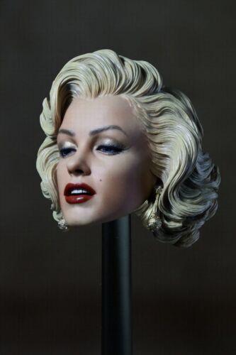 """1//6 Blondes Hair 1953 Marilyn Monroe Head Carving Model Fit 12/"""" Female Figure"""