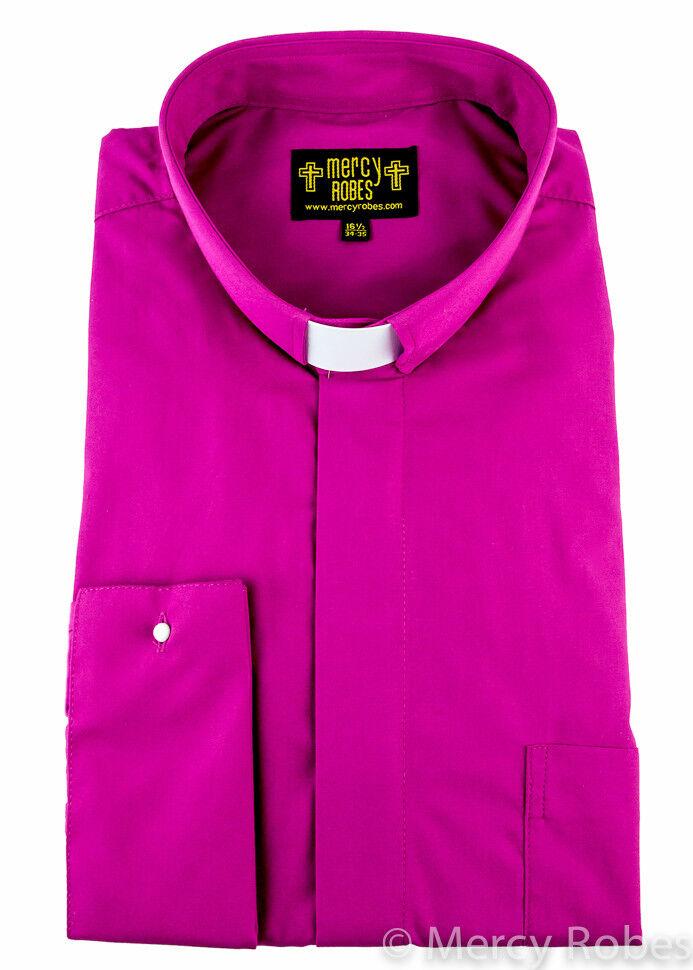 Men's Fuchsia French Cuff, Tab Collar, Clergy Shirt, Pastor, Priest