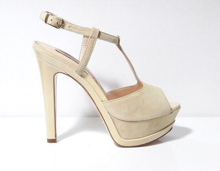 SANDALI chaussures femmes GP PER NOY CAMOSCIO BEIGE 35 39 TACCO ALTO PLATEAU ITALY