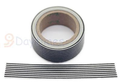 "11Yards Washi Tape Black White Stripes 5/8"" (15mm) Decoration Tape Paper W8103"