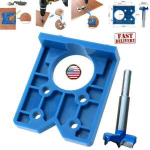 35mm Abs Concealed Hinge Hole Jig Kitchen Cabinet Doors With Drill Bit Tool Us Ebay