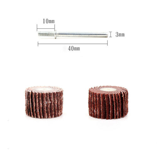 10//12//15//20mm Sanding Sandpaper Flap Wheel Disc 80-600 Grit For Dremel Rotary