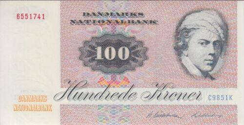 UNC Denmark Banknote P51m  100 Kroner 1985 Prefix C9