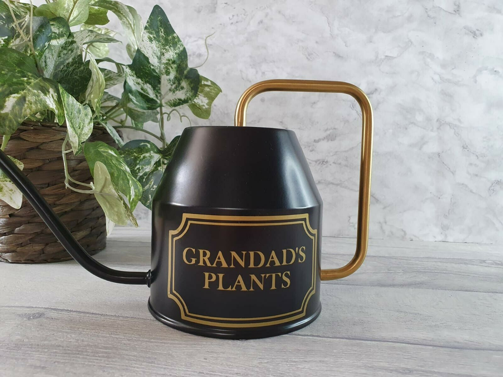 Personalised Watering Can - Black and Gold Any Text