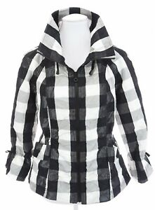 Cheryl-Nash-Windridge-Buffalo-Plaid-Black-White-Windbreaker-Jacket-Womens-Sz-S