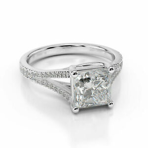 1.60 Ct Princess Moissanite Anniversary Ring 18K Solid White Gold ring Size 6 7