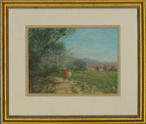 Howard-Scott-b-1921-Signed-amp-Framed-Contemporary-Oil-The-Summer-Walk