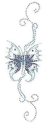 HotFix-Bild Strass Schmetterling 9 x 29cm Farbe: Blau