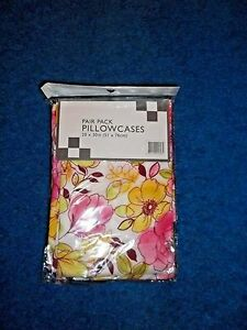 2-CHIC-SHABBY-WHITE-YELLOW-PINK-FLORAL-STANDARD-SIZE-MICROFIBER-PILLOWCASES-NWT