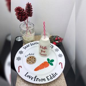 Piatto-di-Natale-e-bottiglia-di-latte-Decalcomanie-Personalizzata-Babbo-Natale-biscotti-PIASTRA