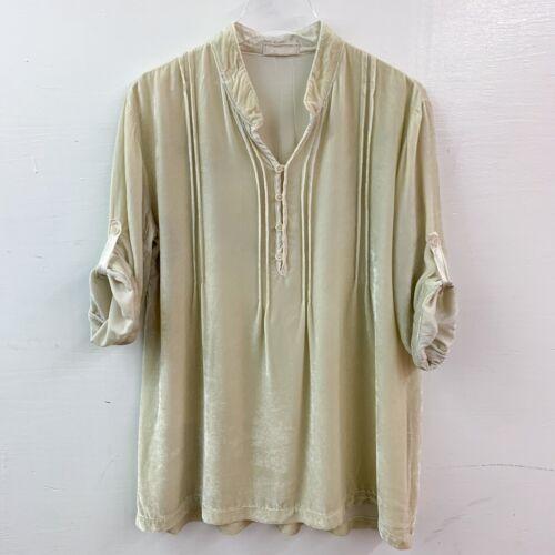 CP Shades Silk Crushed Velvet 3/4 Henley Pullover
