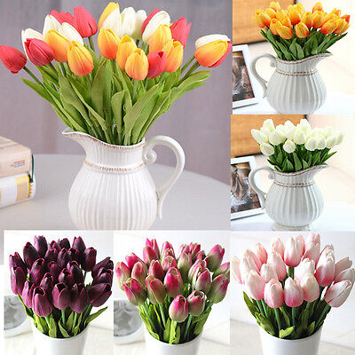 1 6 12 Artificial Fake Tulips Flower Bouquet Home Decor Bridal Wedding Party New