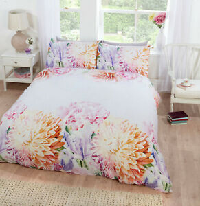 Duvet Quilt Cover Bedding Set with Printed Oversized Bloom of Flowers