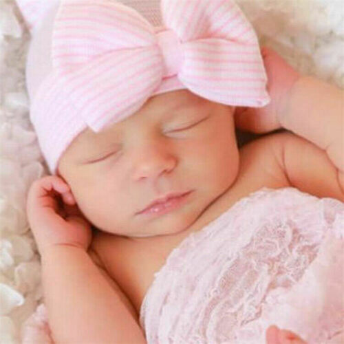 Pink Striped Baby Girl Big Bow Knot Beanie Hat Cap Newborn Infant Knitted Soft L